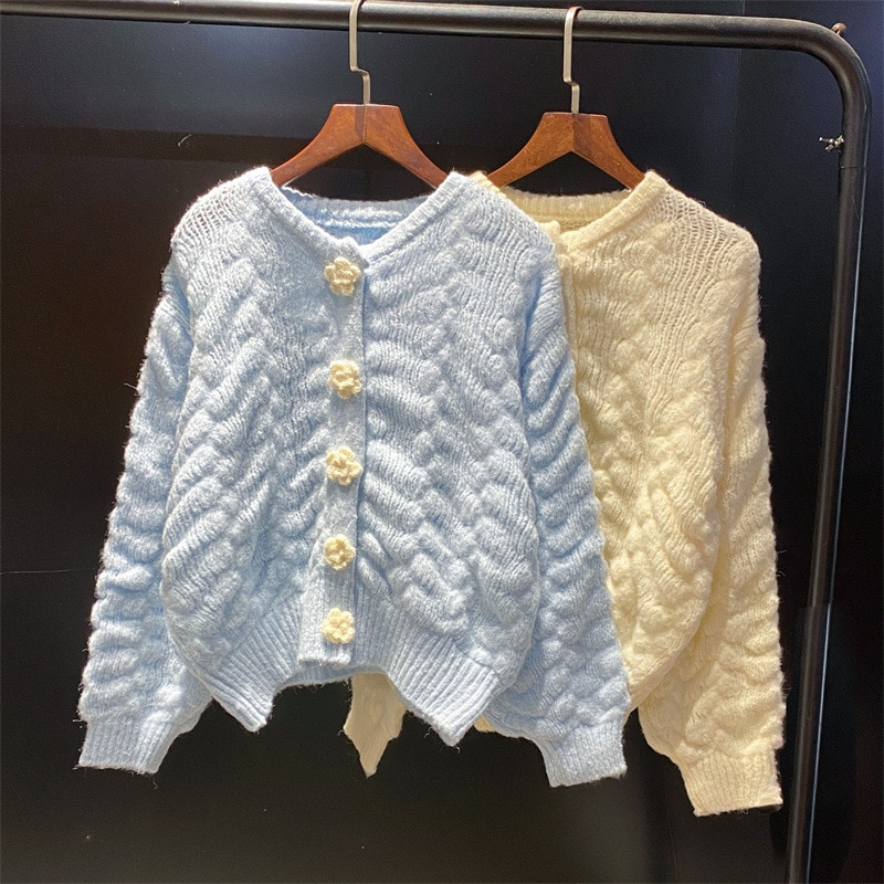 cardigans in sirdar snuggly baby crofter dk 1929 knitting pattern Y2K Flowers Cardigans Women Japan Autumn V-Neck Basic Long Sleeve Cable Knitting Knit Sweater Ladies Loose Cardigans Top JHBeute