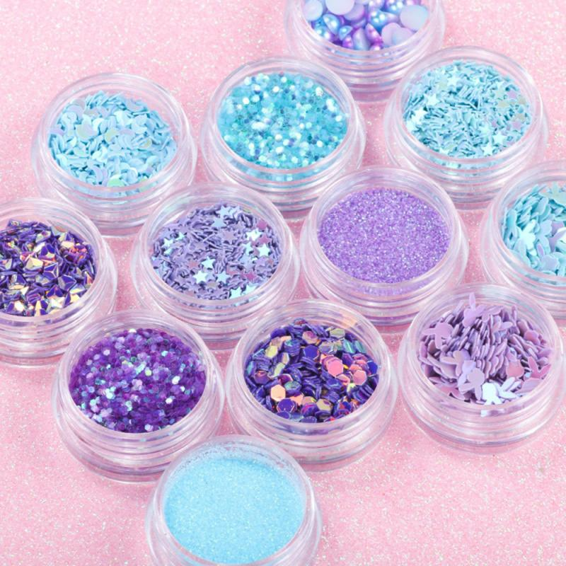 12 ollas/set de lentejuelas de uñas, Media perla, estrella, lentejuelas láser, pegatinas, arte de uñas, Gel UV, herramientas de pulido, decoraciones TSLM1