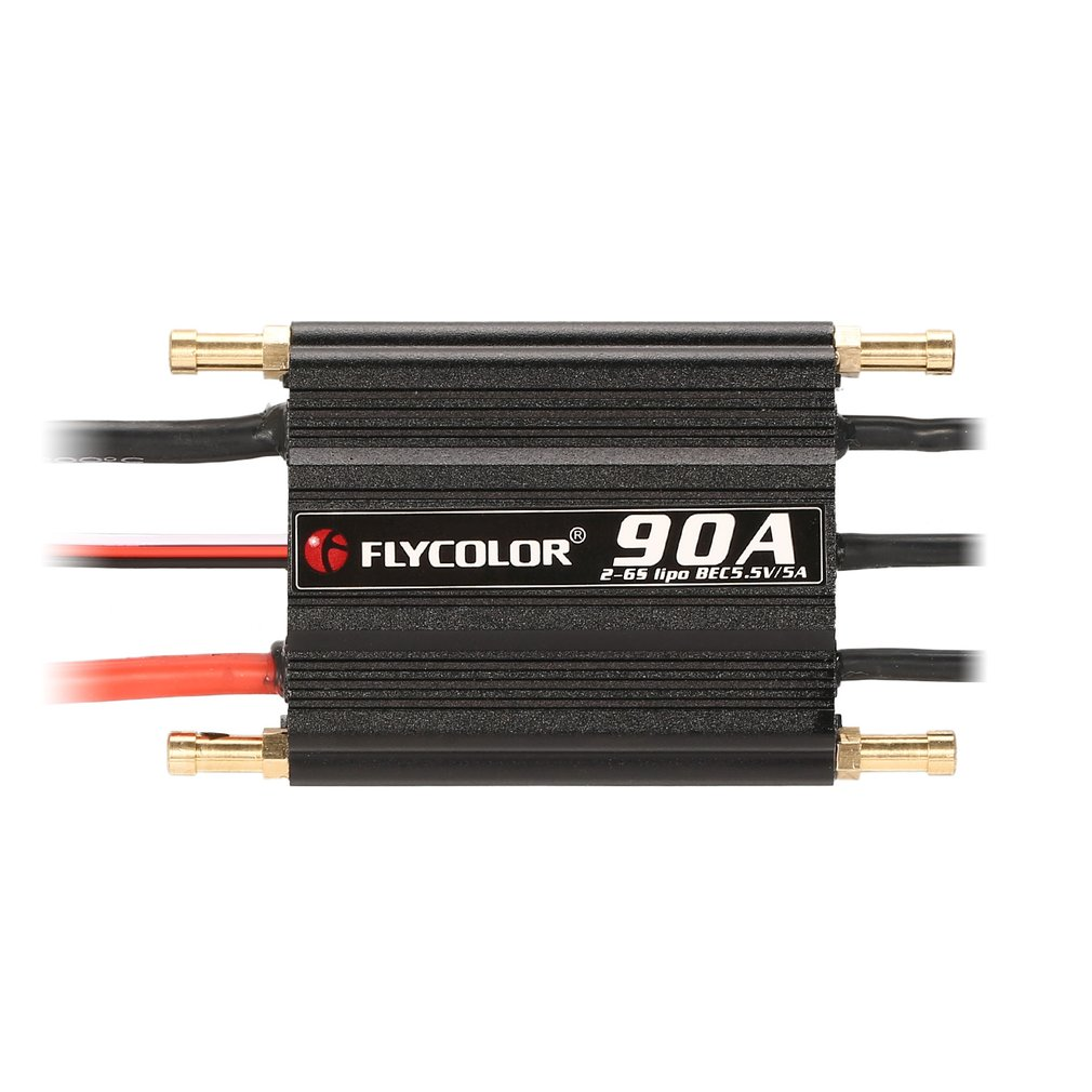 Original FLYCOLOR 2-6S 90A Waterproof Brushless ESC Speed Controller for RC Boat Ship with BEC 5.5V/5A Water Cooling System