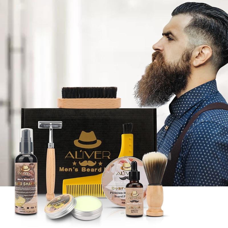 10PCS Men Beard Bib Aprons Beard Kit Balm Beard Oil Comb Moisturizing Wax Styling Tool Scissors Beard Care Set