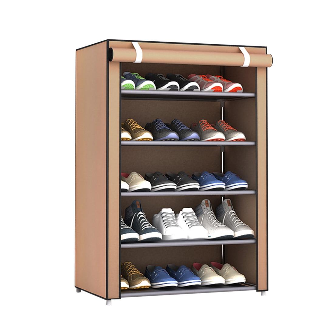 1 قطعة 6 طبقات حذاء رف الغبار واقية عالية قدرة التخزين مجلس الوزراء الأحذية الرف حامل حامل رفوف-الفضة رمادي القهوة