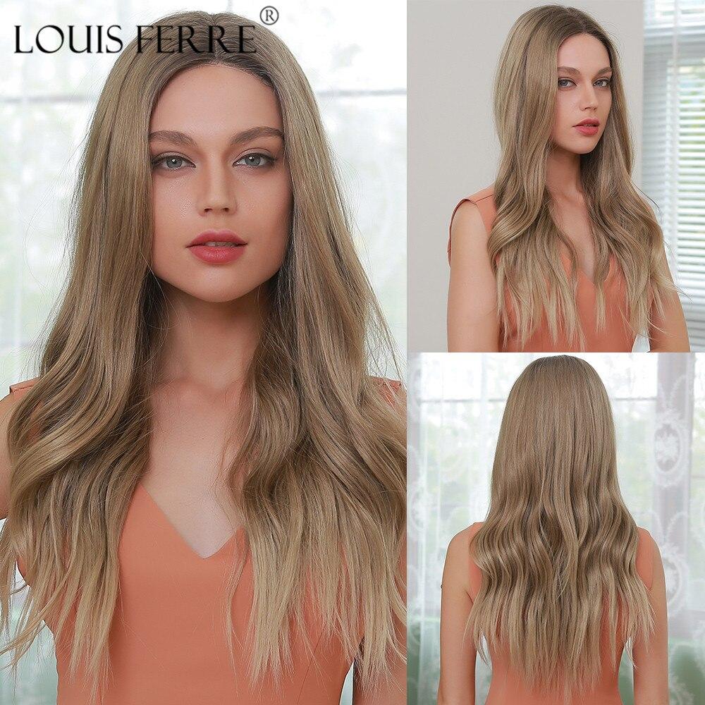 لويس فيري 24 بوصة شعر مستعار طويل مموج من الدانتيل للجبهة شعر مستعار اومبرى اشقر طبيعي باروكة دانتيل اصطناعي للنساء افريقيين