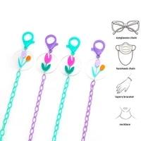 fashion eyeglasses chain anti lost flower charm acrylic mask lanyard glasses chain sunglasses lanyard holder neck cord jewelry