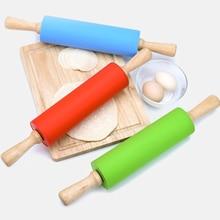 S M غير عصا مقبض خشبي سيليكون شوبك المعجنات العجين الدقيق الأسطوانة المطبخ الخبز أدوات الطبخ عيد الميلاد شوبك