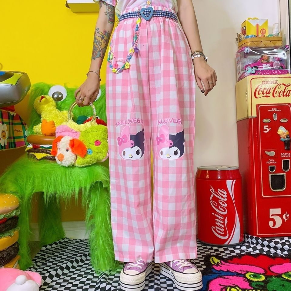 Harajuku جديد الوردي الكرتون فتاة مطبوعة Sweatpants المرأة بنطال ذو قصة أرجل واسعة عالية الخصر Y2k ركض فضفاضة أسفل الكورية