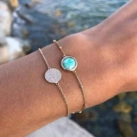 acrylic bracelet set adjustable girls hand chain fashion vintage charm jewelry green friendship gift tassel gold bracelet bangle