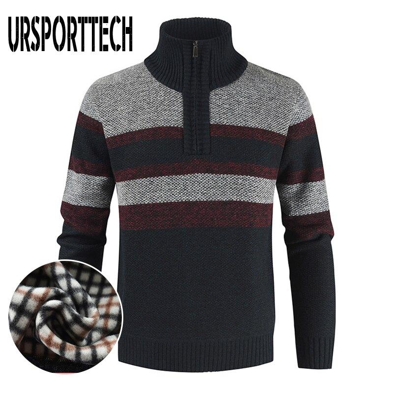URSPORTTECH вязаный свитер, пуловер, мужские флисовые куртки, повседневные мужские пальто с воротником-стойкой, на молнии, мужской вязаный свитер...