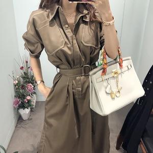 GOOHOJIO Women Dresses New Spring Temperament Fashion Elegant Shirt Women Dress Single-breasted Mid-long Waist Tie Split Dress