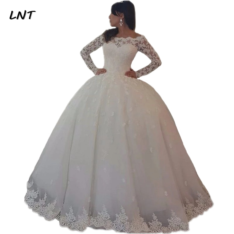 luxury long tail satin red bling ball gown wedding dresses newest sexy designer bridal wedding gowns with sleeves Vestido de Noiva Ball Gown Wedding Dresses Long Sleeves Lace Appliques Wedding Gowns Bridal Dresses