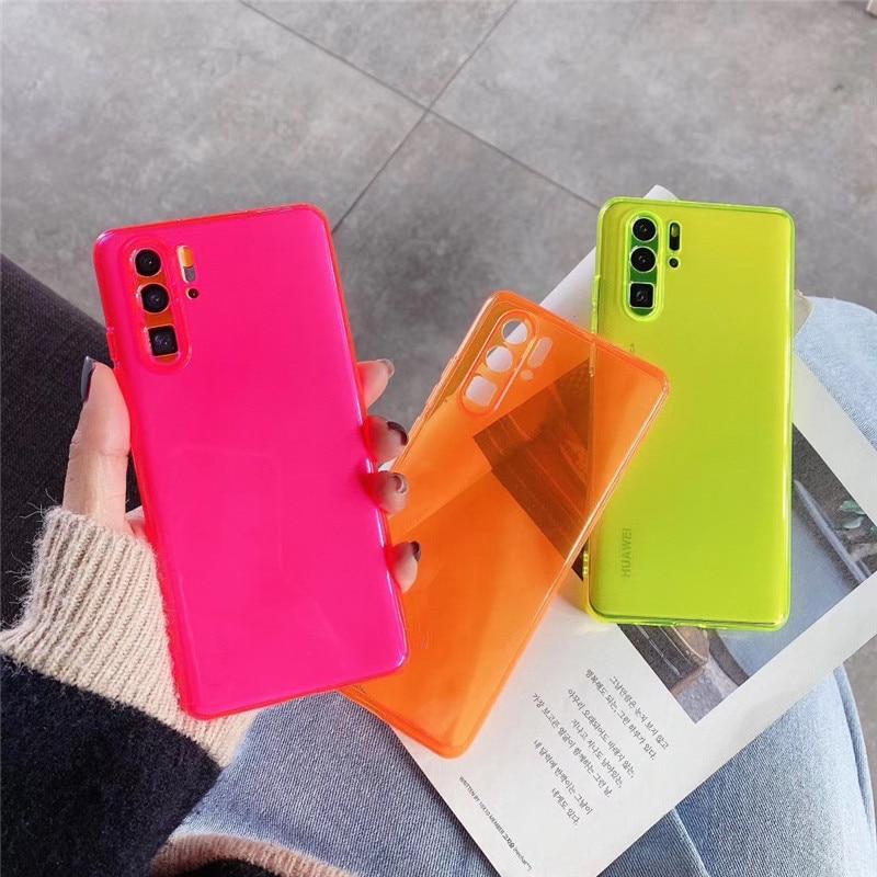 Neón fluorescente Color funda del teléfono para Huawei P30 Lite P20 P40 Pro cubierta transparente para Huawei Mate 20 Honor 20 Pro v30 y9 2019