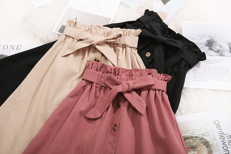 Women Casual Cotton Skirts 2021 Spring Summer Korean Style Solid Elegant High Waist Single-Breasted Bow Lace Up A-Line Midi Skir