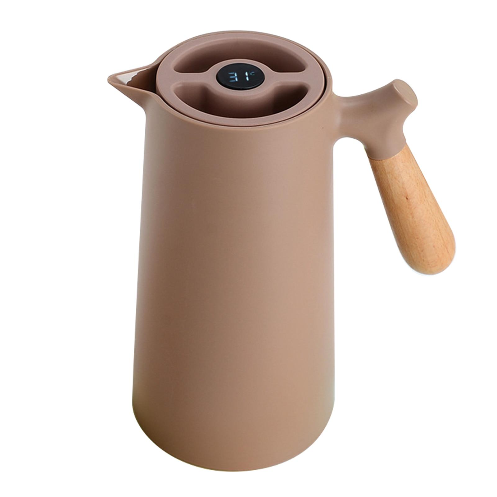 1L اضغط على زر متعددة الوظائف فراغ معزول حفلة الشاي موزع القهوة الحرارية Carafe المشروبات المنزل الخشب مقبض مكافحة قطرة
