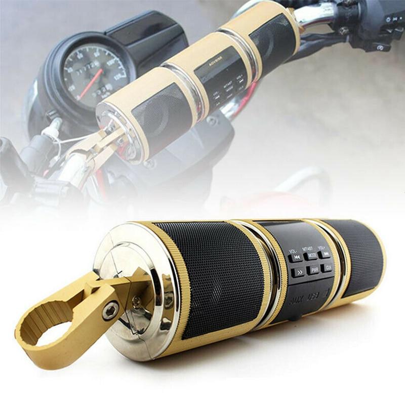 1 pçs ouro motocicleta áudio sistema de som bluetooth mp3 fm rádio estéreo alto-falante para kawasaki