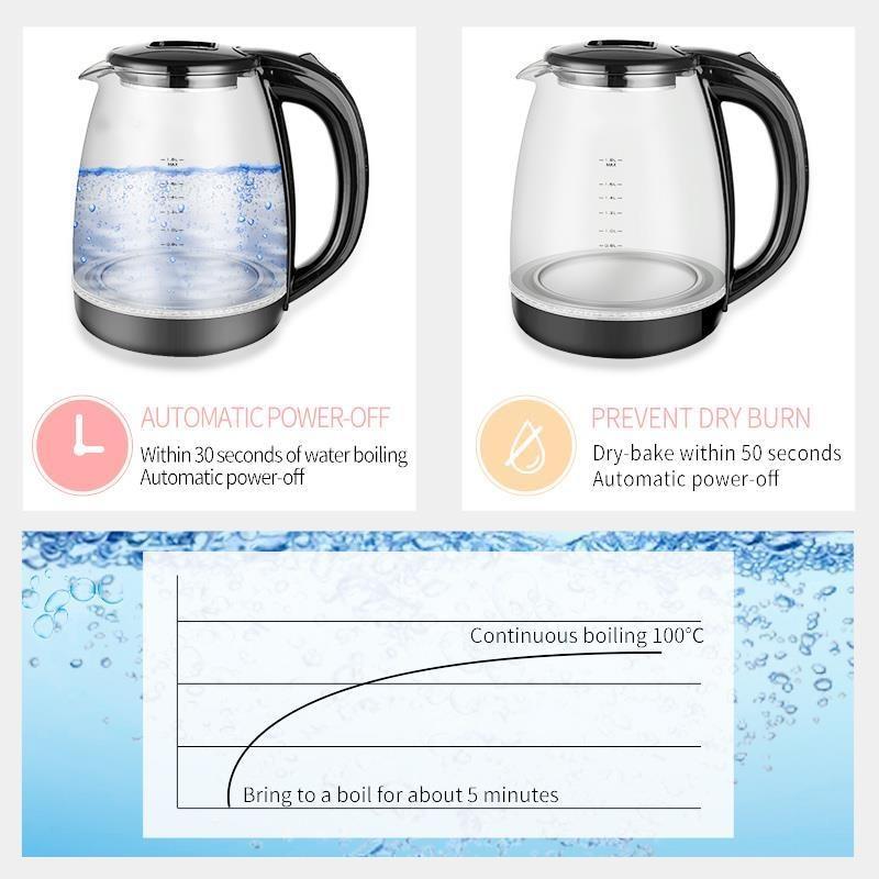 1.8L Borosilicate Glass Teapot 1500W Portable Household Appliances Hotel Tourism Household Kettle