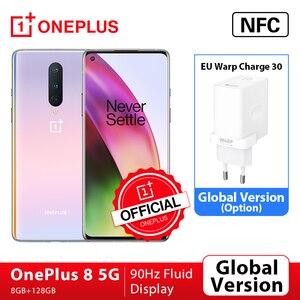 Глобальная прошивка OnePlus 8 5G смартфон 8 ГБ 128 Snapdragon 865 Octa Core 6,55 ''90 Гц жидкости Дисплей UFS 3,0 48MP тройной камеры Wi-Fi 6
