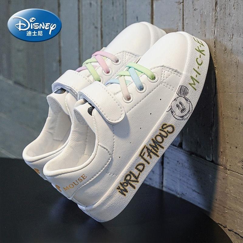 ديزني حذاء للأطفال الكرتون ميكي بوي حذاء كاجوال الربيع والخريف جديد لينة أسفل تنفس فتاة أحذية رياضية بيضاء