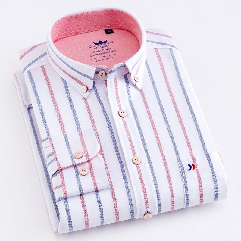 Рубашка мужская из 100% хлопка, в полоску, с одним накладным карманом и длинными рукавами, стандартная Удобная толстая блуза на пуговицах, пов...