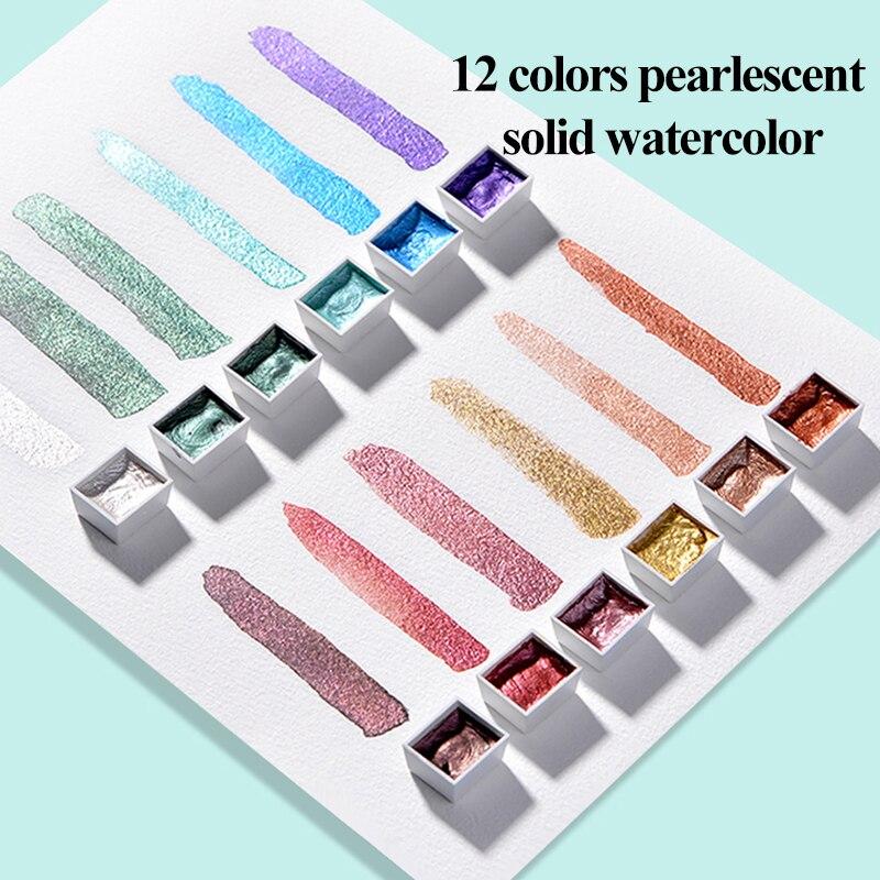 Conjunto de acuarelas de colores sólidos, pigmento nacarado texturizado, traje de Acuarela...