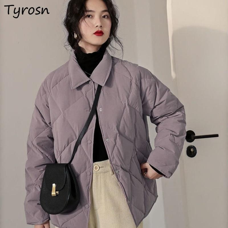 Purple Short Style Parkas Women Winter Fashion Bread Coat Cotton All Match Stylish Warm Teenagers Tu