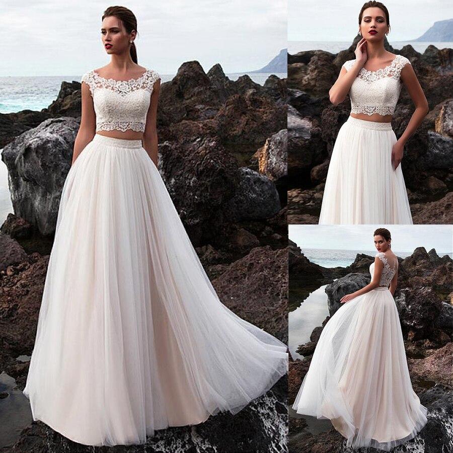 Tul escote redondo dos piezas A-line vestido de novia encaje apliques traje nupcial de playa robe de mariage vestido de noiva decote