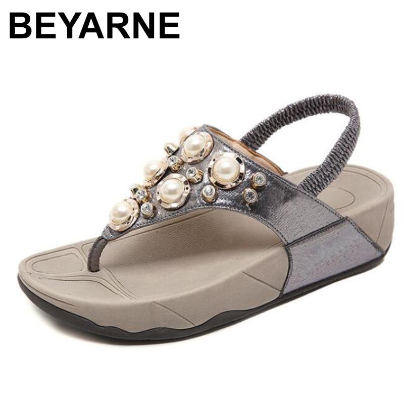 BEYARNEnew-صندل شاطئي نسائي من حجر الراين ، شبشب بنعل سميك ومشبك ، صيف 2020