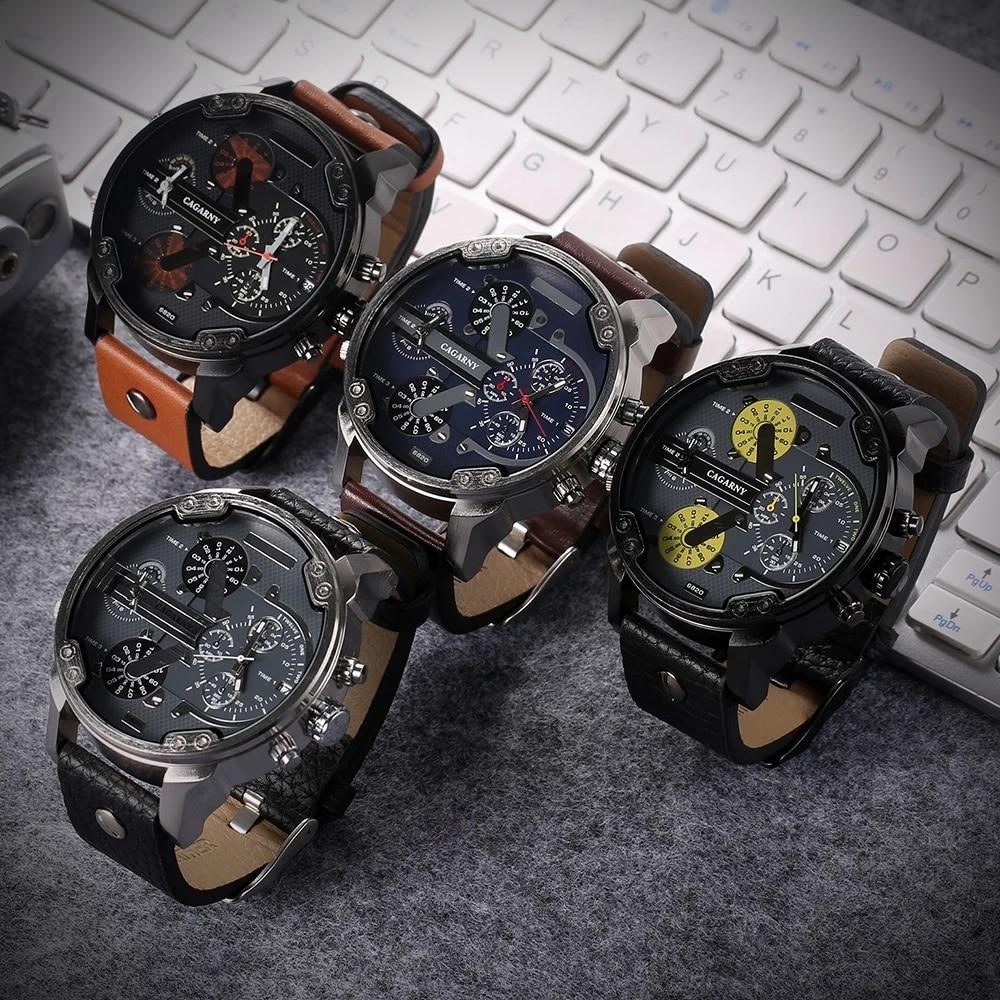DropShipping Cagarny 6820 dz Dual Display Military Watch For Men's Relogio Masculino Sports Quartz Men's Watch Casual Male Clock