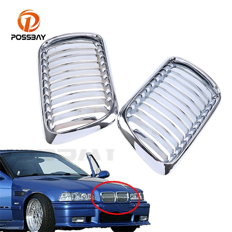 1 par de rejillas POSSBYA cromadas para el centro delantero del coche, campana ancha de riñón para BMW Serie 3 E36 M3 Coupe 1996-1998 facelift
