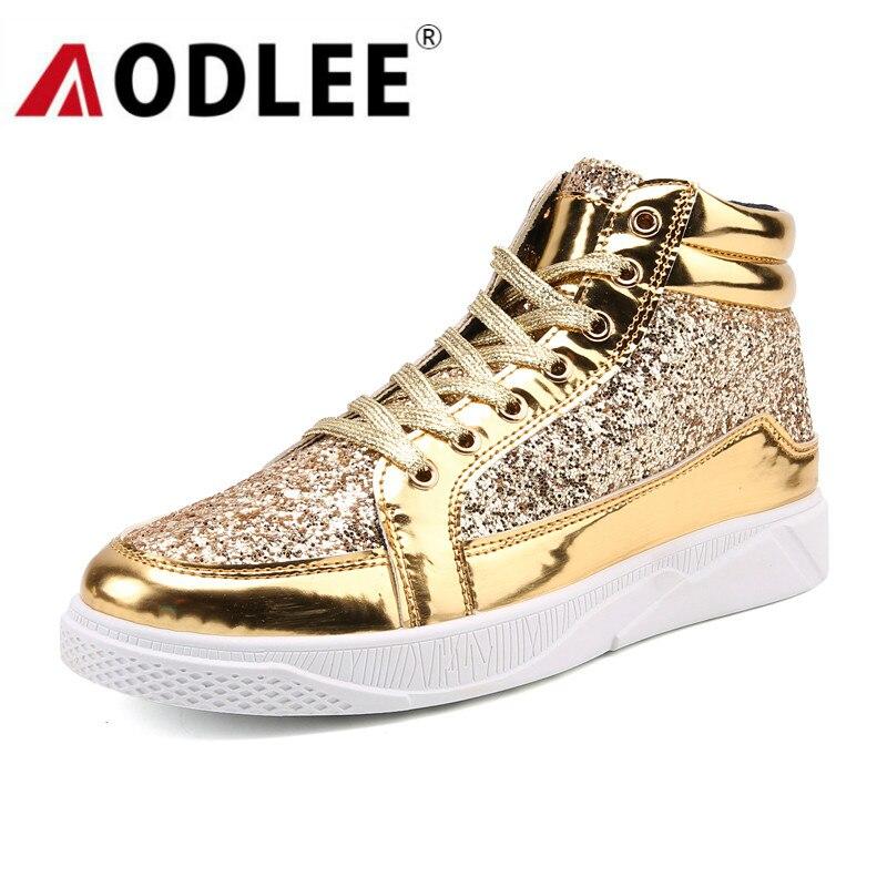 AODLEE الذهب أحذية الرجال أحذية رياضية حذاء كاجوال تنفس موضة الهيب هوب أحذية الرجال رياضية عالية أعلى أحذية عادية zapatos دي hombre