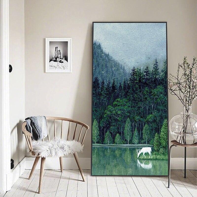 Pintura em tela poster poesia floresta verde xianlu lago veados bebida água paisagem imagem da parede arte decoração para casa modular