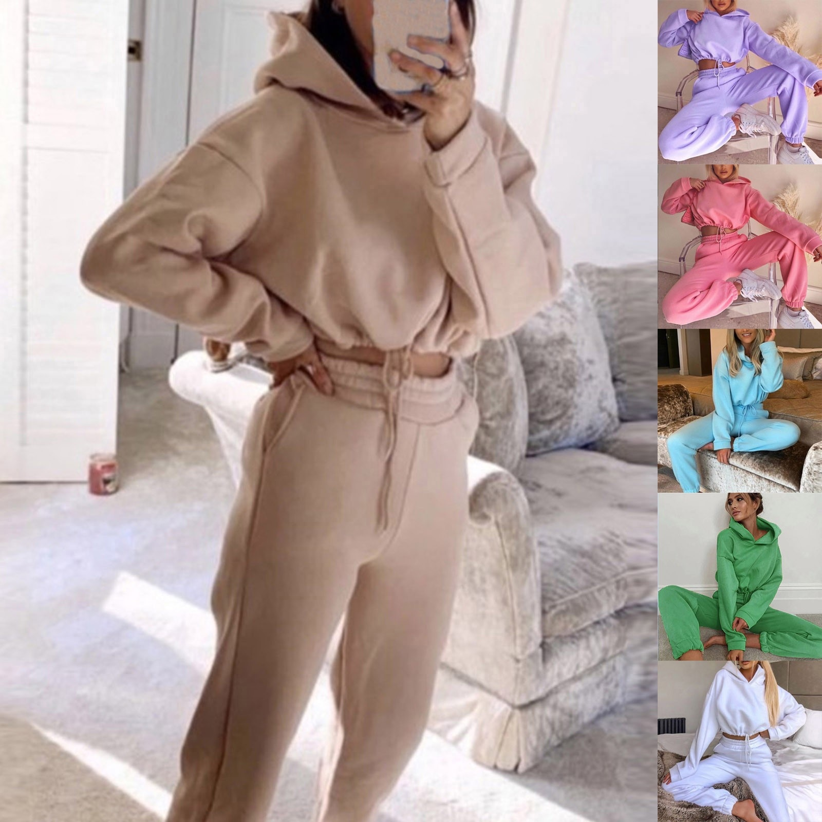 Women Set Clothes Autumn Hoodies Two Piece Set Solid Oversized Tracksuits Winter Thick Warm Hooded S