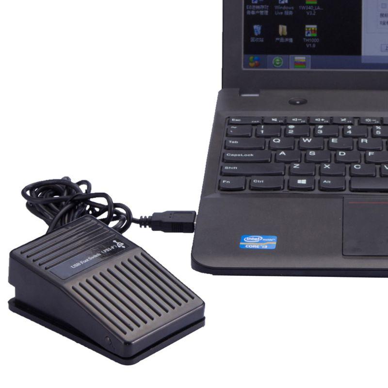 Interruptor de pie USB de plástico, Control de Pedal, tecla preprogr para teclado, ratón, PC