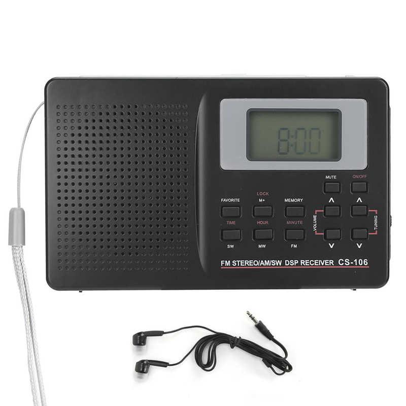 Audifono سماعة CS‑ 106 فرقة كاملة راديو البسيطة FM/AM/SW/MW/LW/مستقبل التلفاز مع ساعة رقمية سماعة ياربود fone دي ouvido