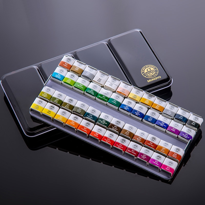 12/24/48 Colors Watercolor Paint Set Solid Water Colors Convenient Tin Box Art Supplies Oil Painting Pigment For Student Toys