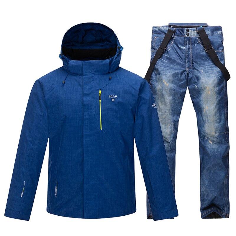 Новый лыжный костюм, мужские зимние теплые ветрозащитные водонепроницаемые спортивные зимние куртки и штаны для улицы, мужское лыжное снар...