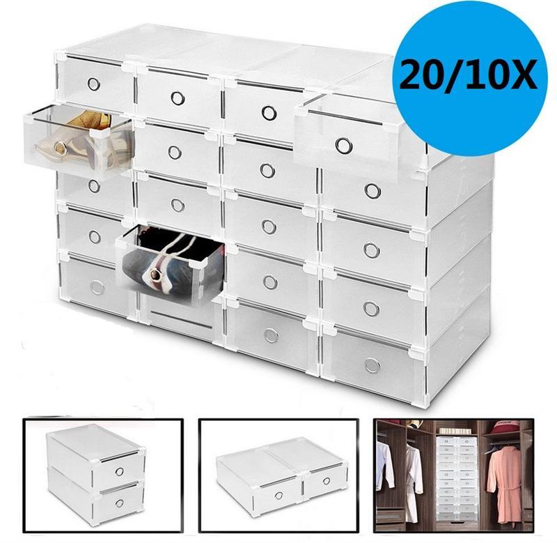 20 pçs 10 pçs caixa de sapato transparente engrossado dustproof sapato caixa de armazenamento empilhável combinação sapato armário sapato organizador caixa