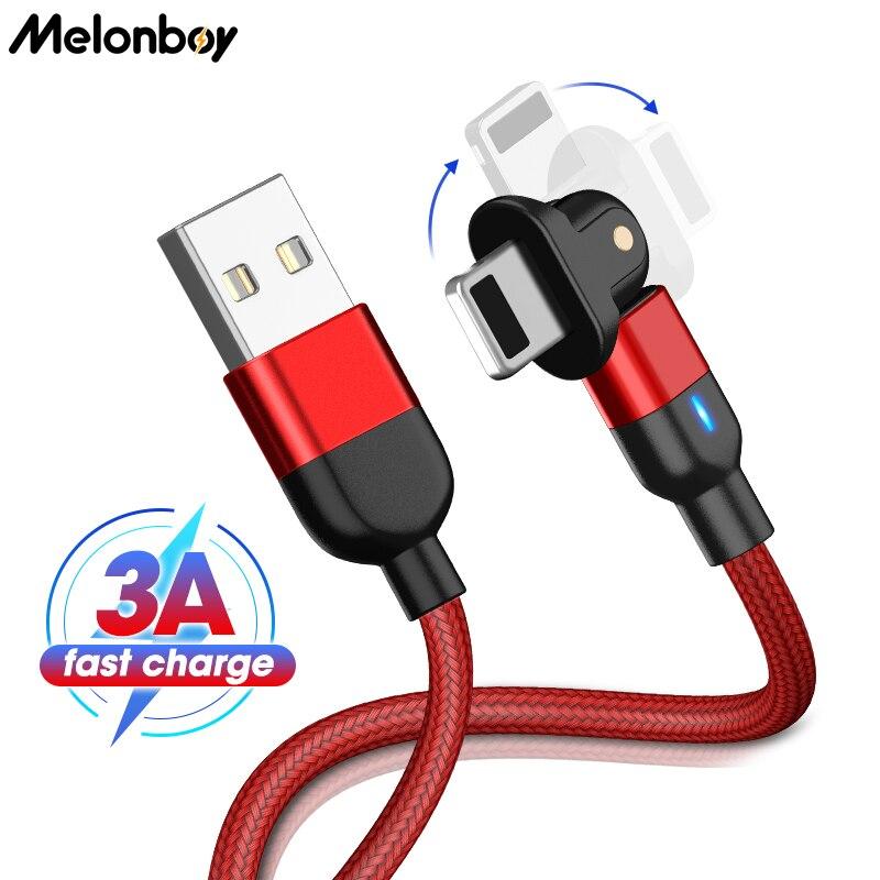 Cable USB giratorio de 180 grados para iPhone X, 6, 6S, 7,...