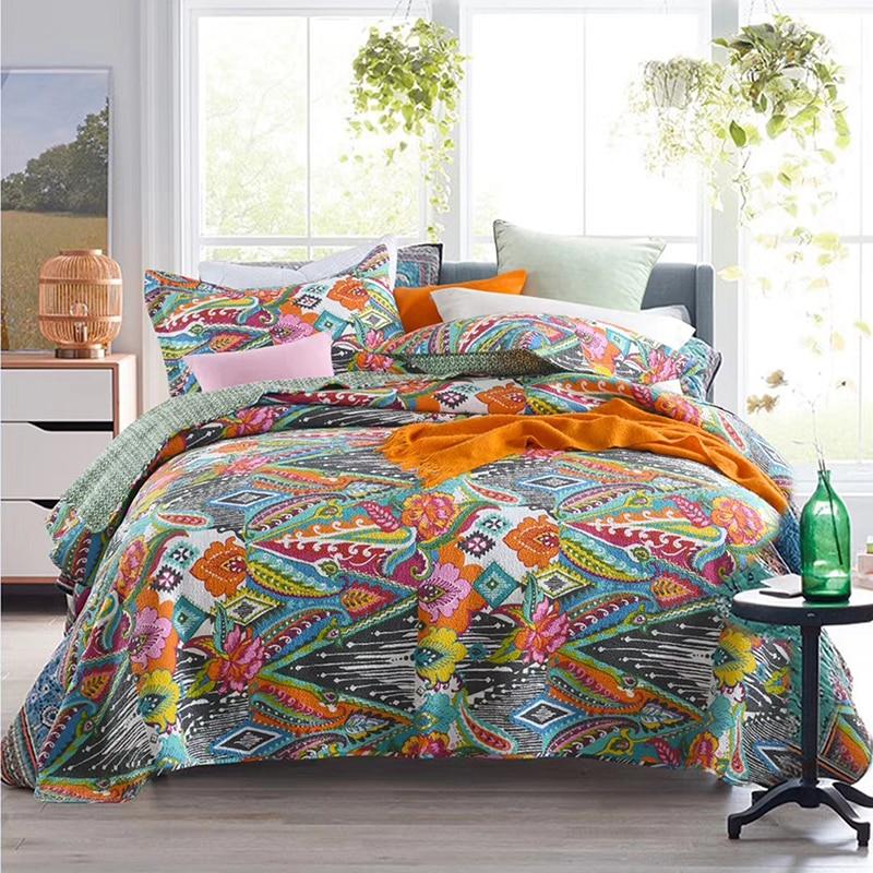 Juego de edredones CHAUSUB de algodón, para cama colcha de 3 Uds., colcha acolchada lavada, sábanas, manta de verano de tamaño King