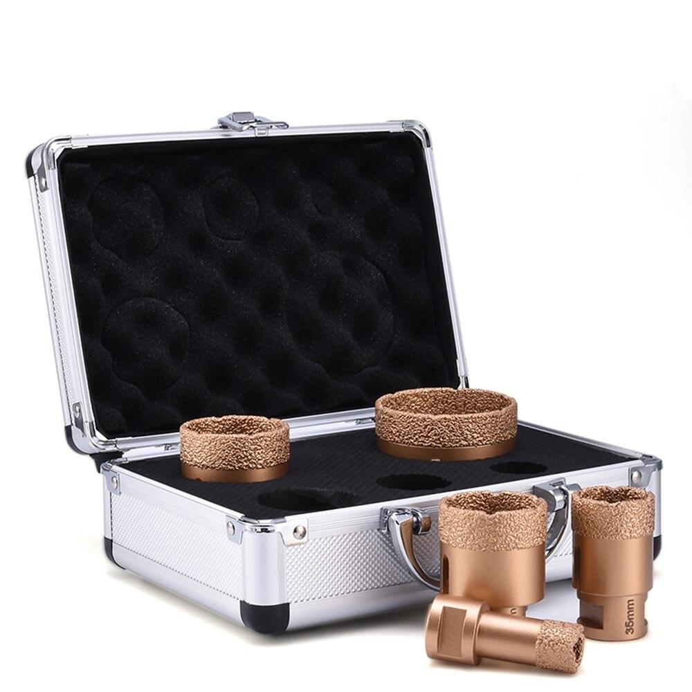 Brazed For Porcelain Granite Tile Glass Ceramics Marble Cut Dry Diamond Drill Bits Set 6mm-68mm Vacuum Brazed Holesaw Tool D30