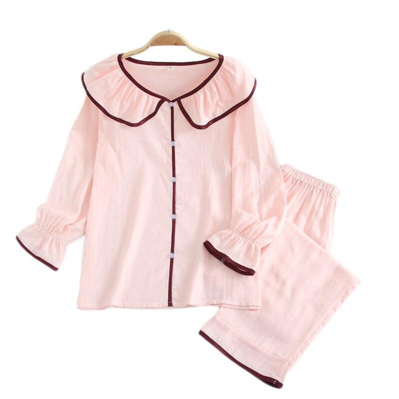 Moda pijamas rayados conjuntos mujer 2019 verano 100% gasa algodón manga larga casual ropa de dormir pijamas frescos para mujer