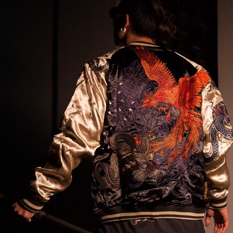 Makuluya 4 Great Beasts Reversible Coats Streetwear Yokosuka Phoenix Dragon Tiger Sakura Embroidery Baseball Jacket L6