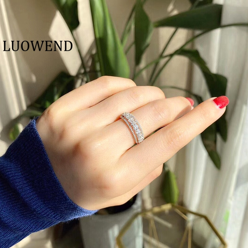 خواتم LUOWEND 100% 18K من الذهب الأبيض خاتم زواج نسائي 0.50 قيراط خاتم من الألماس الطبيعي الحقيقي للسيدات لأعياد الميلاد