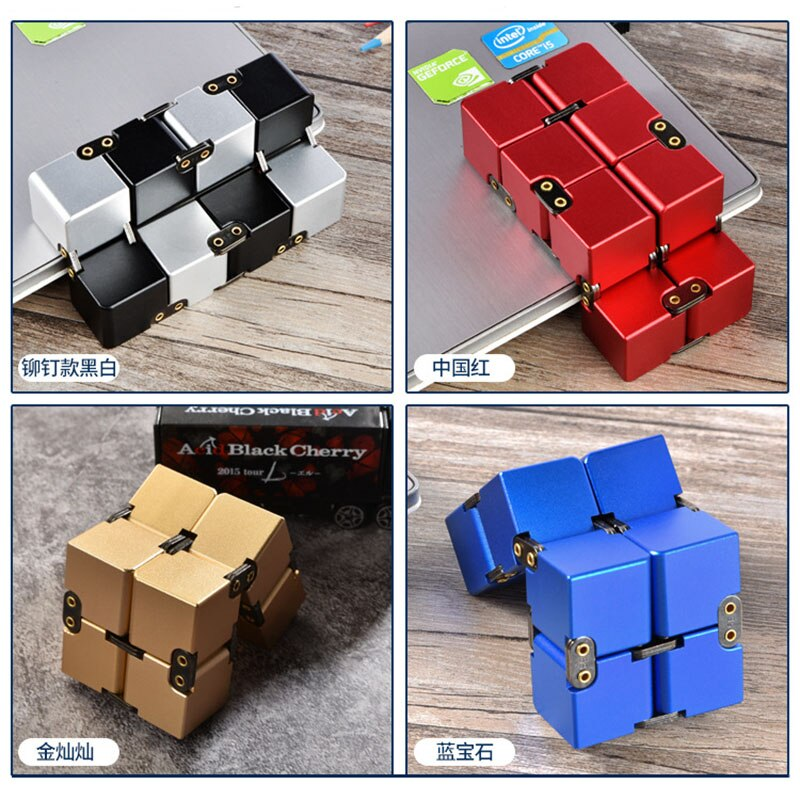 Creative Metal Infinity Cube Portable Aluminium Alloy Infinite Flip Stress Relief Cube for Children Adult Stress Relief Toy Gift enlarge