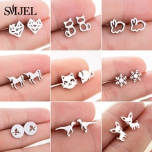 SMJEL Cute Animal Korean Earrings for Women pendientes Fashion Jewelry Earings Statement Butterfly P