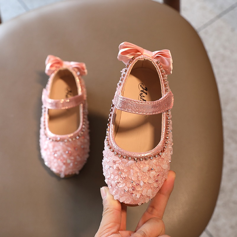 Princess Kids Leather Shoes for Girls Flower Casual Glitter Children Flat Heel Girls Shoes Butterfly