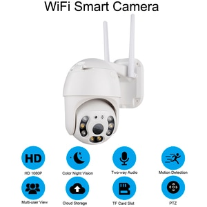 Outdoor Dome Wifi Camera 1080P Water Resistant Audio 2MP Wireless Camera Home Surveillance Safe IP Camera for Home Office Shop