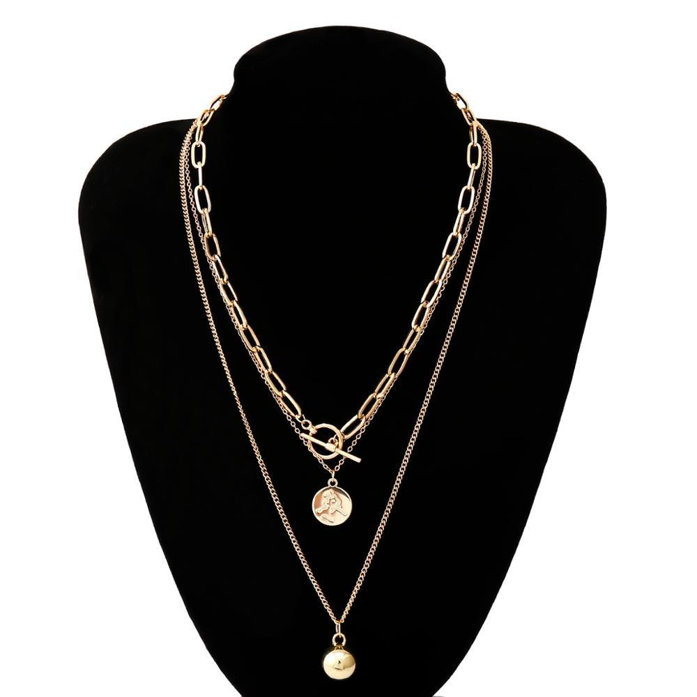 Купить с кэшбэком Punk Gothic Lariat Bead Pendant Choker Necklace Women Wedding Vintage Portrait Coin Gold Color Long Chain Necklace New  Jewelry