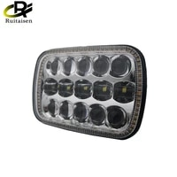 1 pair 7x6 5x7 led headlight with white drl amber turn signal halo front headlight for jeep car for jeep cherokee