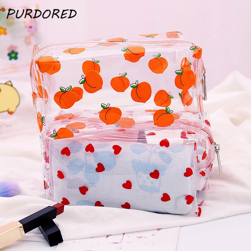 PURDORED 1 Pc Girl Clear Cosmetic Bag PVC Transparent Makeup Bag for Women Waterproof Zipper Beauty