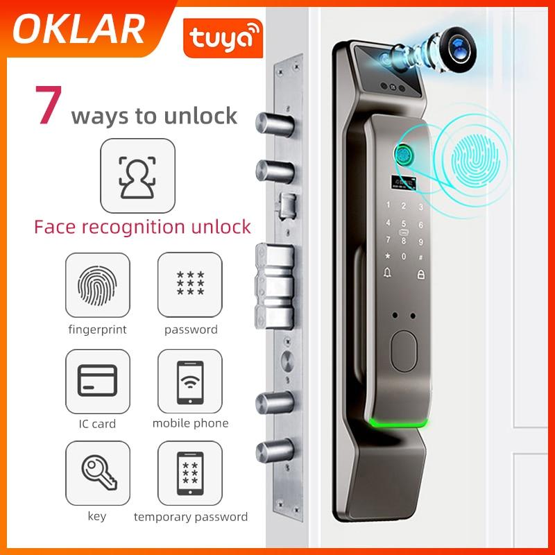 Promo OKLAR Fingerprint Smart Electronic Digital Lock WIFI Tuya APP Control Home Security Smart Electric Face Recognition Door Lock
