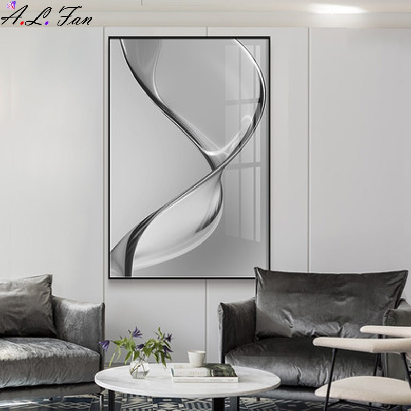 Abstract black and white gray decorative painting modern minimalist vertical version of the aisle at the end of the corridor